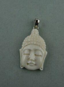 Bone Carving Buddha Bison Knochen Sterling Silber