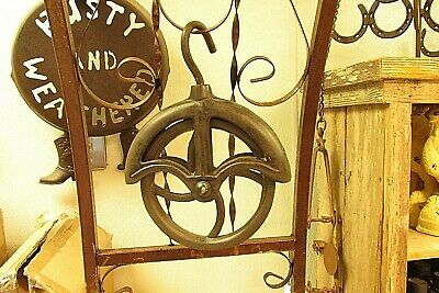 2 Farm Style Water Well Barn Cast Iron Rope Wheel Pulley Ebay