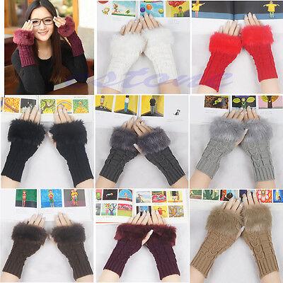 Women Knitted Fingerless Wrist Hand Arm Winter Warmer Faux Fur Gloves Mittens