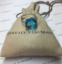 David Yurman Blue Topaz Cushion On Point Diamond Ring SIZE 7