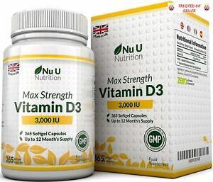 f26e999965c Vitamin D 3000 IU 365 Softgels 1 Year Supply Triple Strength High ...