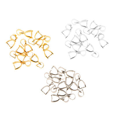 30pcs Silver Gold Jewelry Findings Bail Connector Bale Pinch Clasp Pendant