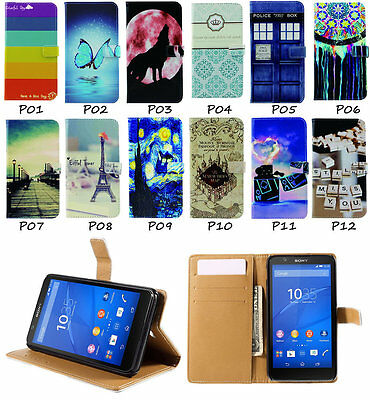 For Sony Xperia Z4 E3 Compact E4 E4g M4 Pu Leather Wallet Magnet Flip Case Cover