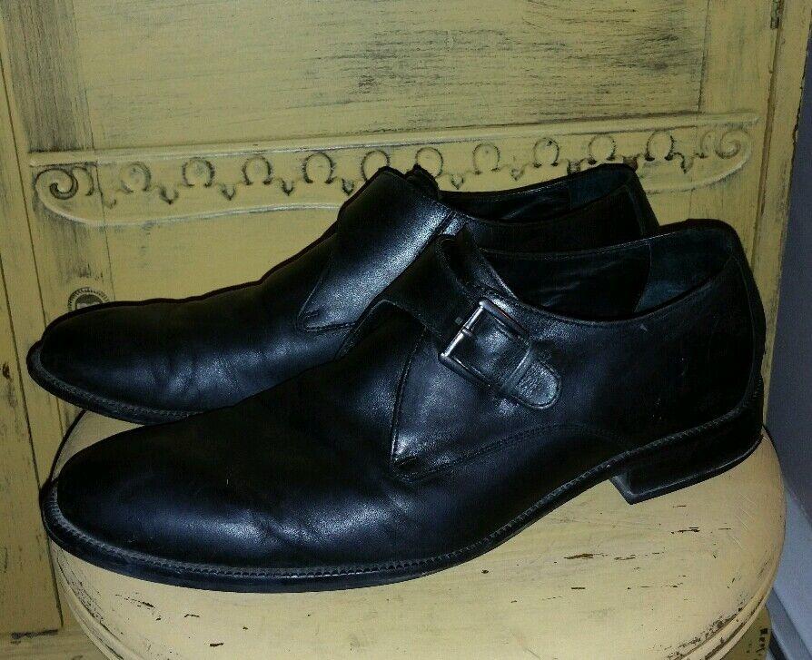 Zapatos De Vestir Correa de monje COLE HAAN Negro Cuero 12 M Brogue Arnés Hipster