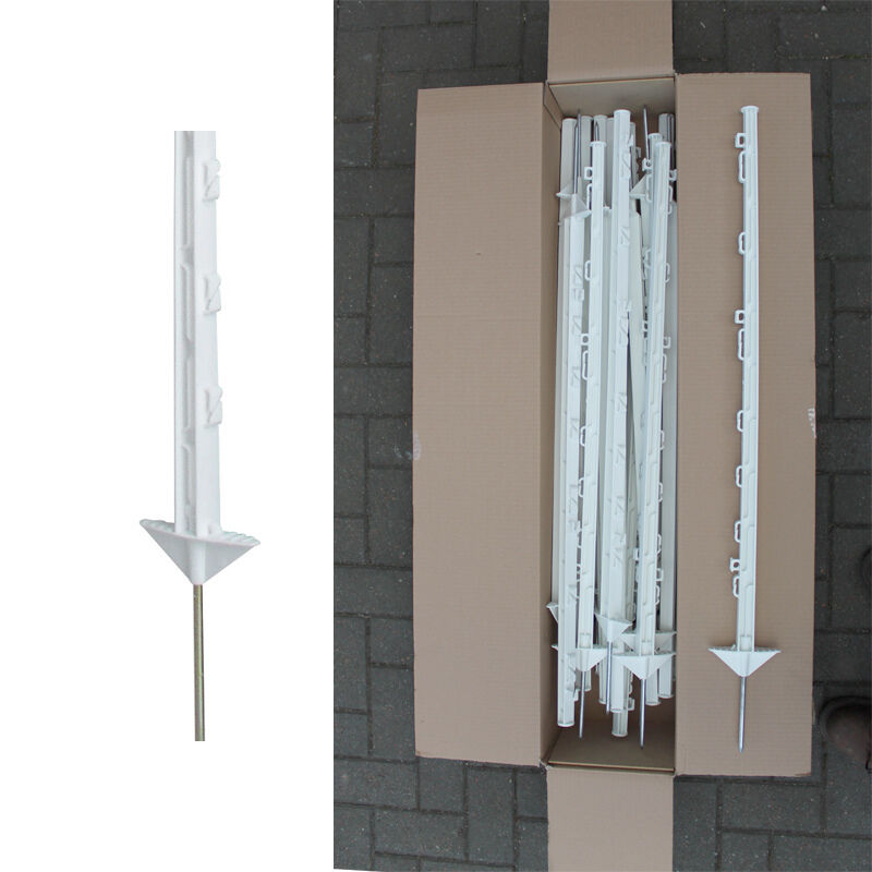 20 x WHITE 3FT Electric Fence Posts - Strong Poly Posts Double Footplate 105cm