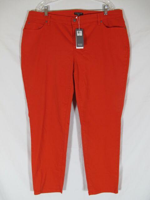543ce61086d Eileen Fisher Skinny Ankle Jean Orange Firefly Cotton PLUS 16W 18W 20W 22W  24W