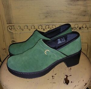 NEW LANDS END GREEN SUEDE FULL CLOGS 9 M CUSHION INSOLE PLATFORM SHOES NURSE
