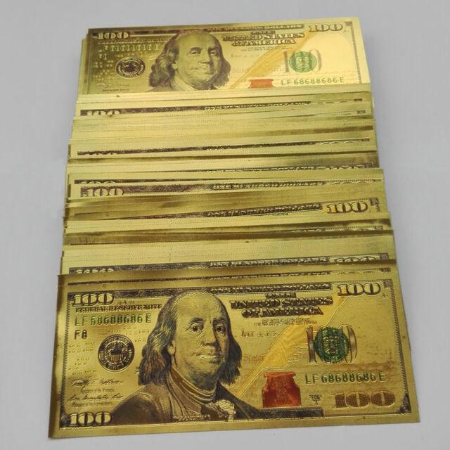 New 10pcs USD 2 dollar 24K Gold Foil Golden Paper Money Banknotes Crafts UNC WH