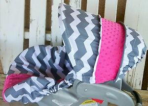 gray and white chevron with pink minky infant car seat cover and hood cover