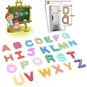 Enfant-Educatif-Jouet-Frigo-Magnetique-Autocollant-Bois-10Nombre-26Lettre-Cadeau