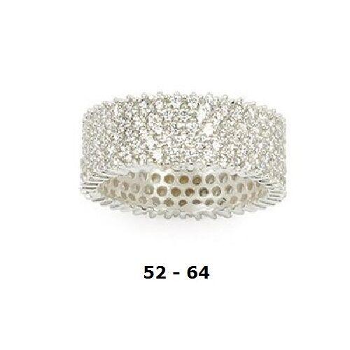 Dolly-Bijoux Alliance T56 Eternity Pavé de 5 Rail Diamant Cz silver Massif 925
