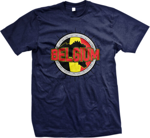 Belgium Flag Map Outline Belgique Koninkrijk België Belgien Mens T-shirt