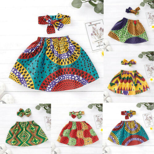 Toddler Kids Baby Girls Printed African Skirt Headband Clothing Outfits Set UK