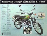 1970 Suzuki T-125 Ii Stinger Twin Motorcycle Sales Brochure (reprint) $6.50