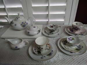 Lot-of-11-Sango-China-Violets-Green-Leave-Teapot-Creamer-and-Sugar-Bowl
