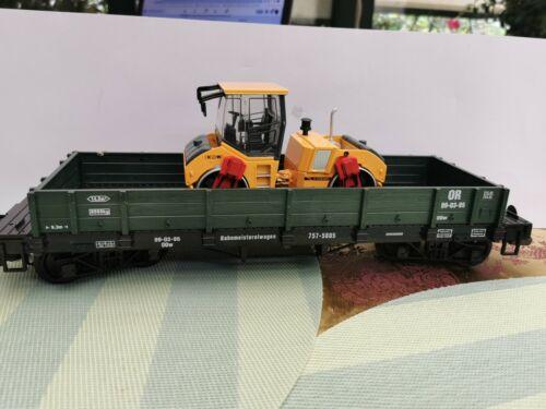 1 Für LGB //NEWQIDA  flach Güterwagen,grün neu 4 achser  mit neuer Walze Metall
