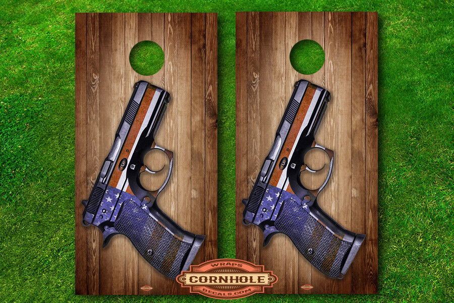 VINYL WRAPS Cornhole Boards DECALS American Flag  Handgun Second Amendment  online discount