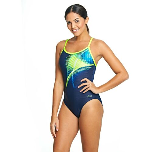 Zoggs Womens Velocity Sprint Back Swimming Costume Sz 16 Sporty Fitness Swimsuit