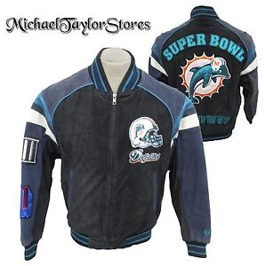 Miami-Dolphins-NFL-Men-039-s-Full-Zip-Suede-Leather-Super-Bowl-Jacket
