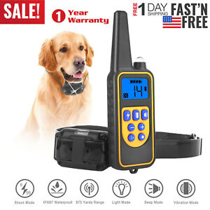 875-Yard-Pet-Dog-Training-Collar-Electric-Shock-Rechargeable-Remote-Waterproof