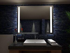 Details zu Badspiegel mit NEON Beleuchtung Badezimmerspiegel Licht Bad  Spiegel Wandspiegel