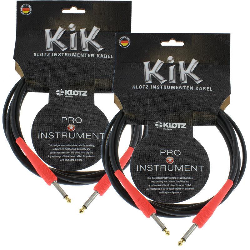 2-Pack KLOTZ KIK 20ft 6m Guitar Cable Cord schwarz rot 1 4  Straight Germany NEW