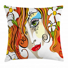 Wine Throw Pillow Case Abstract Glasses Stylized Square Cushion Cover 16 Inches