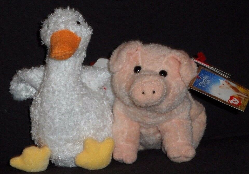 TY WILBUR & GUSSY BEANIE BABY SET - CHARLOTTE'S WEB PROMO - MINT with MINT TAGS