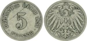 Empire 5 Pfennig 1891 G Almost VF 49475