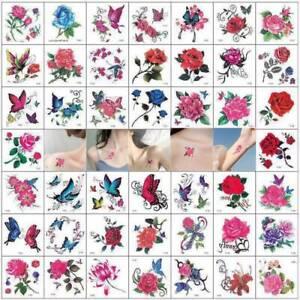66X-Temporary-Tattoo-Stickers-Body-Art-3D-Waterproof-Flower-Butterfly-Tatoo-UK