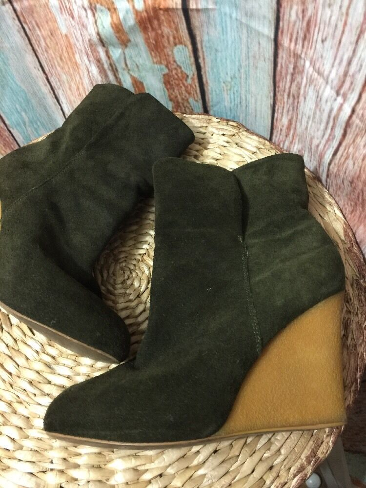 Zara Woman's Zara Collection Dark Green Suede Leather Ankle Boots 38 NICE!