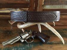 Tex Shoemaker Cordovan Brown Basketweave Leather Police Duty Belt Size 34