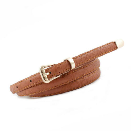 Fashion Women Lady Leather Waist Belt Narrow Thin Skinny Buckle Dress Waistband