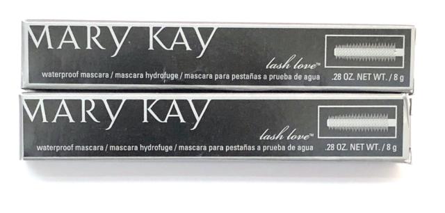 MARY KAY LASH LOVE WATERPROOF MASCARA~BLACK~LOT OF 2~FULL SIZE!