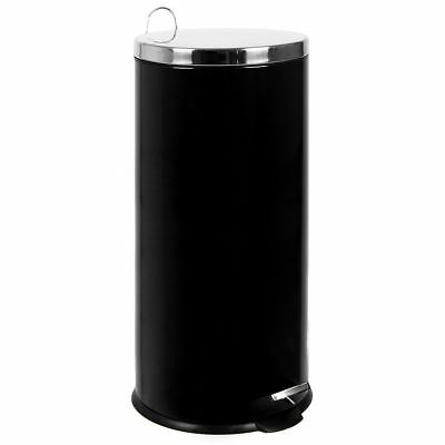 30 Litre Pedal Bin Black Kitchen Waste Rubbish Large Step Metal By Home Discount