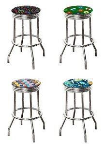 Amazing Details About 29 Tall Backless Bar Stool Chrome Finish Swivel Seat Kitchen Novelty Game Room Machost Co Dining Chair Design Ideas Machostcouk