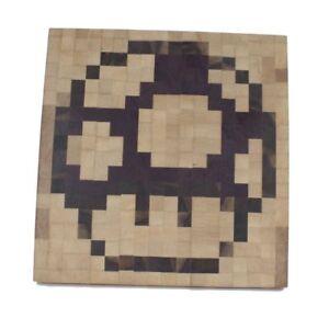 Details About Geekwood Super Mario Mushroom Cutting Board Retro Video Game Nintendo Pixel Art