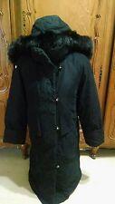 UTEX Full Length Down Coat Faux Fur Trim Hood  sz Small