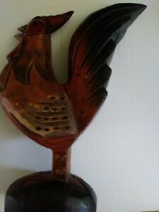 Vintage Folk Art Hand Carved Rooster Wood Imperfections Retro