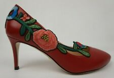 5d8f7b4f669 Gucci Ophelia Floral Pump Red Leather Malaga Kid Heels Women s Shoes Size 36
