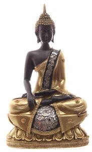 Neu-Buddha-Thailand-Thai-Buddha-23cm-Resin-Gold-Statue-Asien-Moench-Feng-Shui