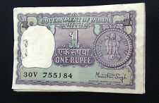 1-ONE RUPEE BUNDLE OF 100 NOTES  BACK SIDE BIG COIN MIXED SIGNED  (NOT UNC) LOT.