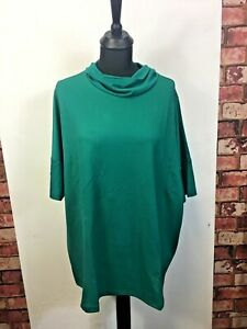 Womens-Green-Top-Blouse-Short-Sleeve-Junarose-Neck-Style-Loose-Fit-Size-M