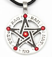 Pewter Amulet Pentagram Tetragrammaton Ruby Red Crystal July Birthstone Pendant