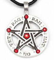Pewter Amulet Pentagram Tetragrammaton Ruby Red Crystal July Birthstone Pendant