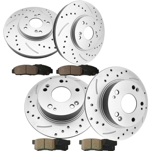 Front & Rear Brake Rotors+Ceramic Pads For 03-04 Acura TSX