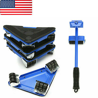 New Heavy Furniture Lifter Mover 360° Rotation Wheels Moving Kit Slider Pad USA