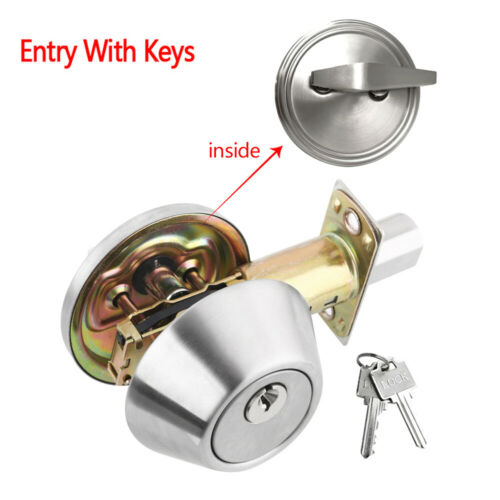 Single Cylinder Deadbolt Lock Security Home Entry Handle Door Lock Set w// 2 Keys