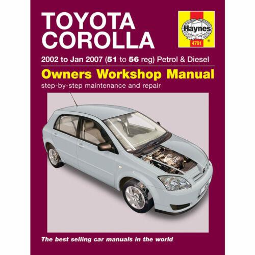 Toyota Corolla Haynes Manual 2002-07 1.4 1.6 Petrol 2.0 Diesel Workshop Manual