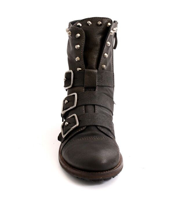 Mally 5068 marron Leather Side Zip-Up     3 Buckles Studded Ankle bottes 36   US 6 3c1fb4